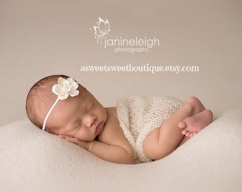 Simple Organic Baby Headband Newborn Headband Sweet Magnolia Headband Vintage Newborn Photo Prop