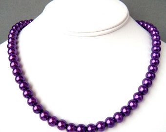 Pearl Necklace, Purple, Glass Pearl Necklace, Round Pearl Necklace, Pearl Strand Necklace, Purple Bead Necklace, Beaded Necklace