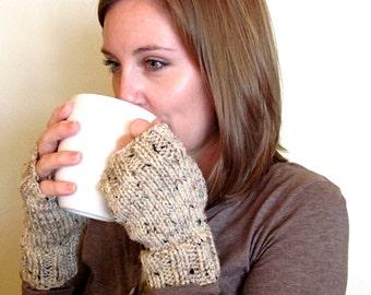 knit fingerless gloves, oatmeal, beige