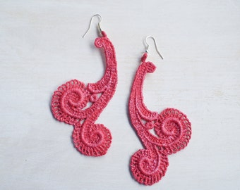 Pearl Red Lace Earrings