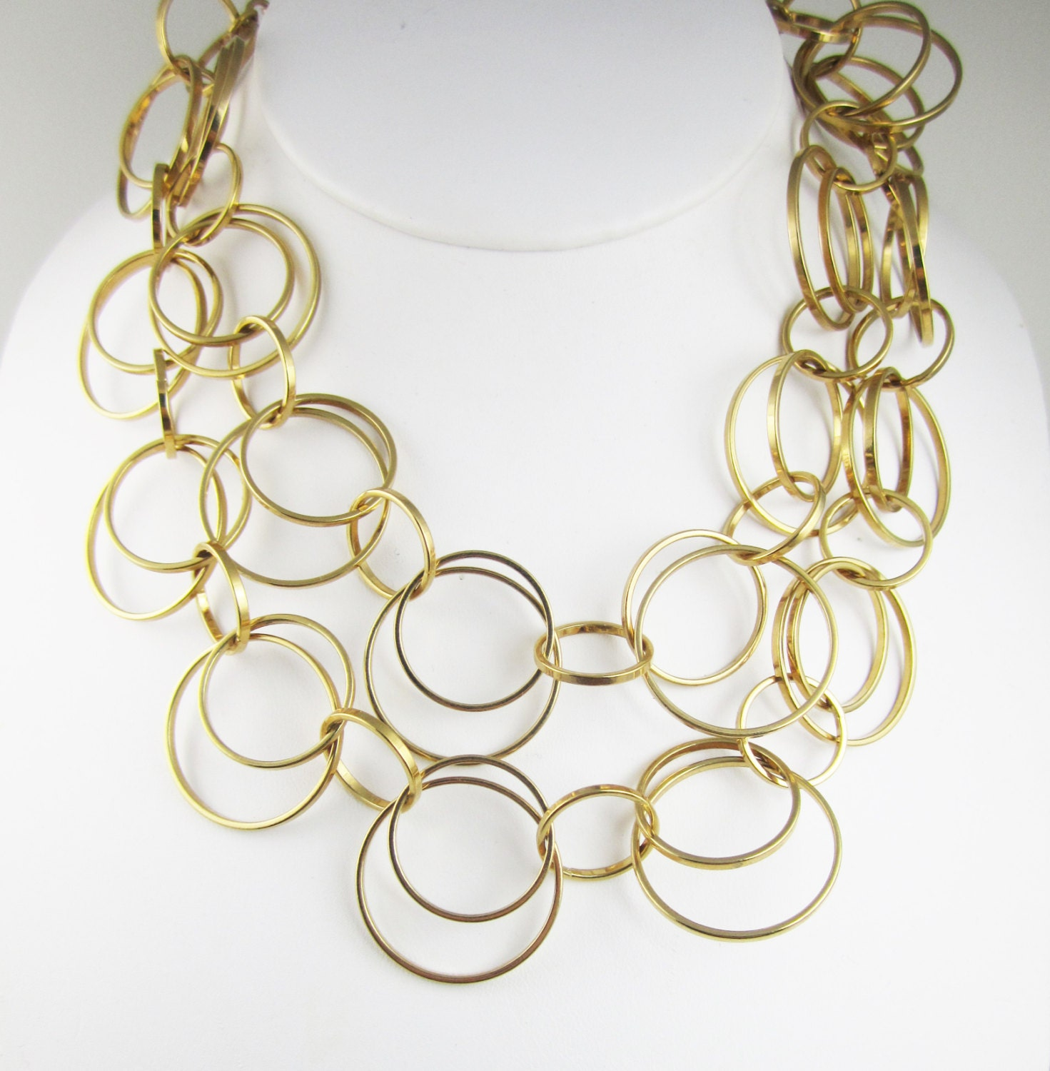 Signed joan rivers necklace layered circles by for Joan rivers jewelry necklaces