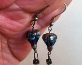 Fab Hot Air Balloon Earrings Turquoise Lapis Lazuli MOP maybe Sterling Silver Dangle Vintage