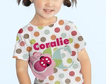 Girls Personalized Ladybug Shirt,  Polka Dot Flower Tshirt, Girls Clothing
