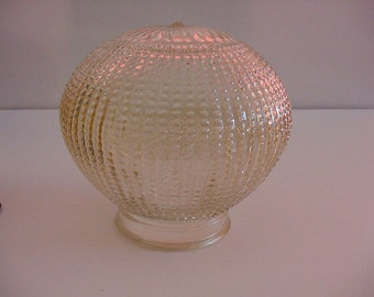 "Victorian Art Nouveau Light Shade 5"" Beaded Embossed Vanilla Glass Ceiling Lamp Lighting~"