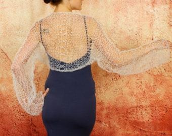 Alia - Summer Wedding Silk Kid Mohair Feminine Romantic Long Sleeve Shrug Custom Colors by Eva Bella Boutique