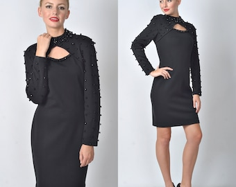 Vintage 80s Black Mini Dress Retro Studded Beaded Cutout Glam wool party Small S 1099