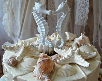 Seahorse-beach-wedding-cake topper-destination-bride-groom-beach wedding-seashells-starfish-wedding sign-white-ivory-kissing-nautical-ocean