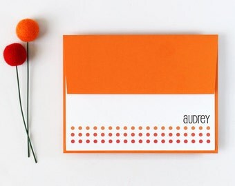 Custom Stationery Orange Polka Dot Personalized Stationary Fold Over Note Cards Bridesmaid Gifts Thank You Notes Teacher Gifts Hostess Gift