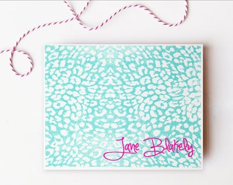 Personalized Stationary Turquoise Teal Pink Animal Print Custom Stationery Colorful Bright Leopard Note Cards Bridesmaid Gift - Set of 10
