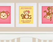 Girl Monkey Nursery Art, Monkey Prints, Personalized Monkey Print, Monkey Artwork for Baby,Monkey Baby Shower, Monkey Nursery, DIY Printable