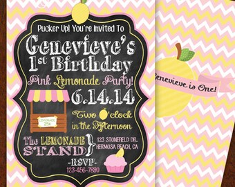 Pink Lemonade Invitation Double-sided Pink Lemonade Party Party Invitation Pink Lemonade Birthday Party Printable 5x7 Invitation