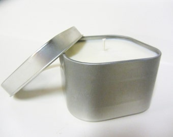 Soy Candle 8 oz - Choice of Scent - Rounded Square Tin with Lid