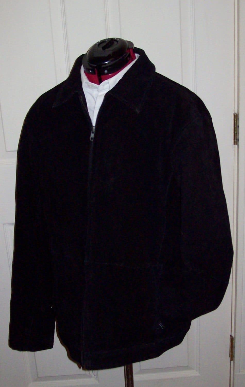 vintage men 39 s black suede leather jacket by knightsbridge. Black Bedroom Furniture Sets. Home Design Ideas