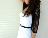 Black lace shawl / shrug . 4 wearing options- scarf , shawl , twist and shrug . great gift for mom, gifts for women (CL101)