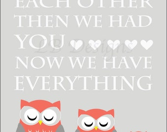 Owl Nursery Decor, Woodland Nursery Print, Gray and Coral Nursery, Owl Nursery Art, Fox Nursery Decor, Owl Family, Gift for New Baby - 8x10