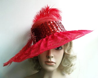 Ladies Red Lace Hat, Wide brim red hat, Derby Hat, Kentucky Derby Hat, Garden Party, Tea Party