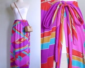 Vintage 80's Jewel Tone Abstract Floral Print Beach Sarong Maxi Skirt S M L Xl