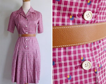 Vintage 80's Grid Squares Geometric Maroon Red Cotton Dress XS or S