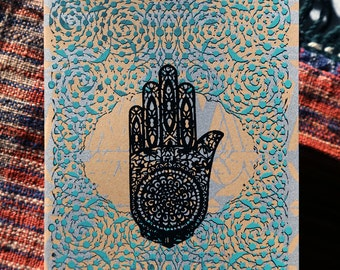 Arabesques and Mehendi - Henna Hand of Fatima Design // Three Color Hand Printed Blank Occasion Card // Teal Silver Black