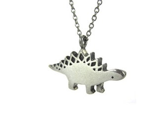 Stegosaurus Dinosaur Necklace with Geometric Pattern - Pewter Stegosaurus Pendant