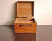 vintage rustic wooden recipe box