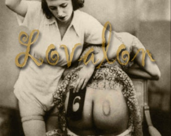 MATURE... Hairbrush Spanking... Deluxe Erotic Art Print... Vintage Nude Photo... Available In Various Sizes