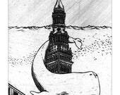 Flood - Illustration of Terminal Tower under water in Cleveland - New 11x17 Print