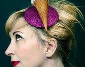 Quirky Fun Kitsch Pink Summer Retro Glitter Ice Cream Fascinator