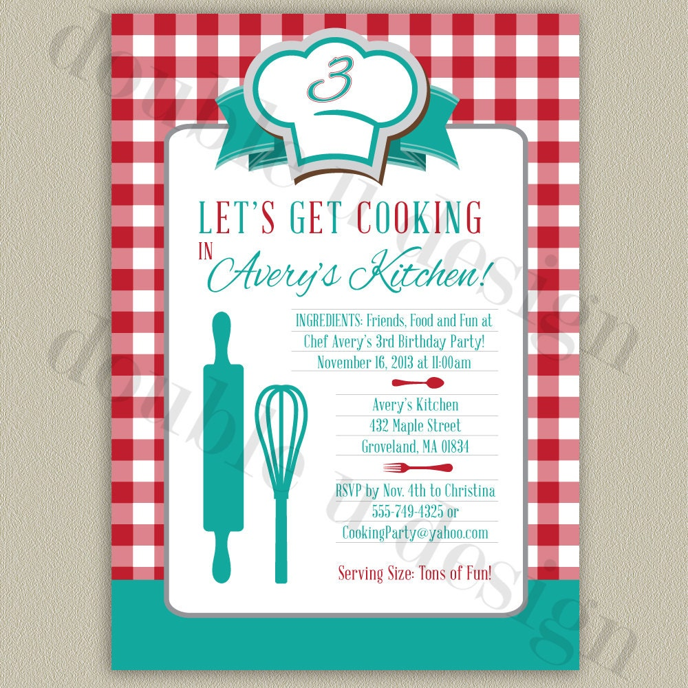 COLOR OPTIONS Little Chef's Cooking Party Printable