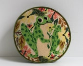 Vintage Frog Embroidered Round Pillow