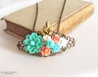 Bridal Necklace Coral Pink Mint Turquoise Gold Peach Wedding Pastel Bride Jewelry Floral Necklace Bridesmaid Gift Shabby Chic Flower Leaf SB