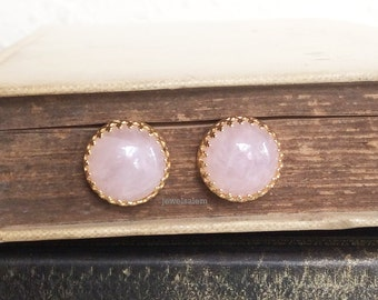 Rose Quartz Earrings Gold Stud Post Pink Gemstone Precious Stone Jewelry Simple Classic Modern Victorian Vintage Style Elegant Birthstone