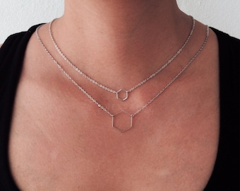 Hexagon Necklace Silver Honeycomb Shape Pendant Modern Geometric Delicate Simple Everyday Casual Jewelry Sisters BFF Friendship Gift C1