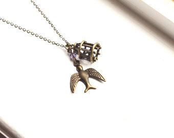 Bronze Bird and Cage Necklace - Custom Swarovski Crystal Bead - Vintage Style - Beautiful Animal Woodland Jewelry - Birthstone - Under 20
