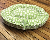 Cat Bed XSmall Small Green Polka Dots Fleece