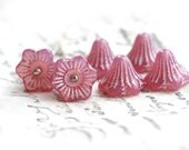 Flower Bell beads - Opal Pink, white inlays - czech glass beads, 13mm, large - 6Pc - 0672