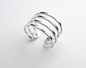 4 Layer Ring - Stacking Ring - Sterling Silver 925  - Eco-Friendly Sustainable Silver - Adjustable