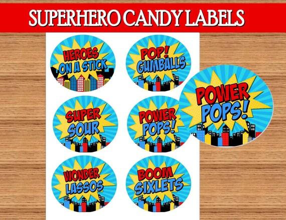 Superhero Birthday Party Superhero Candy Labels
