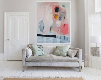 "Large White abstract Print of painting with pink orange and black, giclée print painting ""Cut Your Own Pattern"""