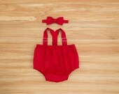 Baby Boy Clothing, Boy Outfit, Red Suspenders, Bow Tie and Diaper Cover Outfit, Red Clothing, Cake Smash Outfit