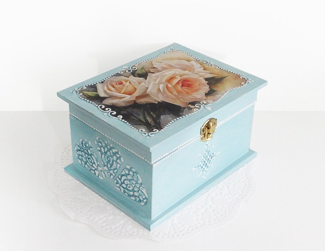 big shabby chic jewelry box wedding card holder wish box. Black Bedroom Furniture Sets. Home Design Ideas