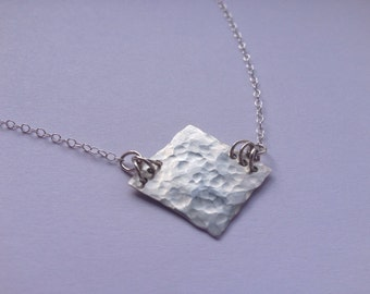 Simple Sterling Silver Necklace, Hammered Silver Square Necklace