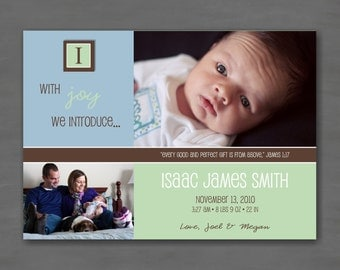 Baby Boy Photo Birth or Adoption Announcement; Blue, Green & Brown with Monogram