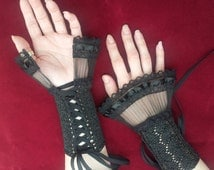 Hand Knitted Metallic Black or Red Gothic Lolita Lace Gloves Fingerless Steampunk