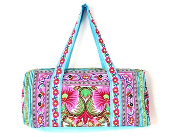 Travelling Bag HMONG Embroidered Fabric Handbag Handmade Thailand (BG720B-C6D63)