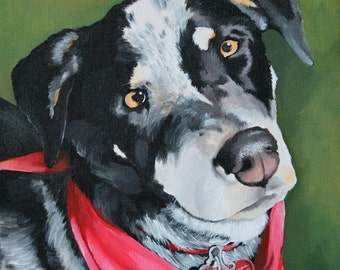 Dog portrait, perfect gift for pet lovers, hand painted on a 8x10 canvas, original painting