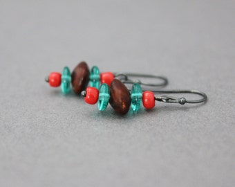 bright seed earrings orange and turquoise acacia seed earrings indie hippie earrings natural dangle earrings