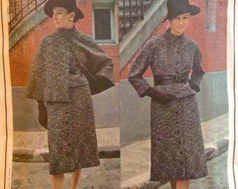 """Vintage 1960s Misses' Guy Laroche Vogue Paris Original Suit Cape Pattern 2548 Size 14 (36"""" Bust)"""