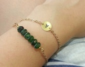 Initial connector + Emerald Czech Glass Bracelet Stack (Personalised your preferred letter)