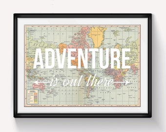 World Map Poster, Adventure is Out There, Map of World Print, Nursery Decor, Travel Quote, Wanderlust Poster, Map Art, Home Decor, Adventure